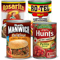 BOGO - Buy any three cans of Hunt's, Manwich, Rosarita or Ro*Tel, get one can free