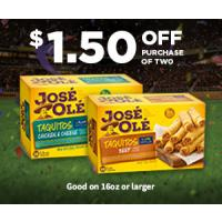 Print a coupon for $1.50 off any two Jose Ole Snacks, 16 oz or larger
