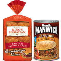 BOGO - Buy One King's Hawaiian Hamburger or Deluxe Hamburger Buns and Get One Can of Manwich Free