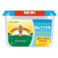 Print a coupon for $0.75 off a 15oz. tub of Land O Lakes Less Sodium Spreadable Butter with Canola Oil