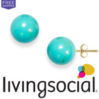 Purchase Turquoise Ball Stud 14K Gold Earrings from LivingSocial for only $16.99, plus Free Shipping. Save $63!