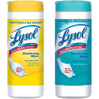 Print a coupon for $0.50 off two containers of Lysol Disinfecting Wipes, 35 ct. or larger