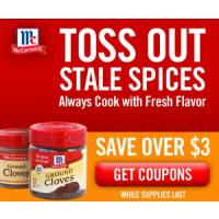 Print a coupon for $3.25 off any three McCormick or McCormick Gourmet Spices or Herbs