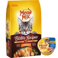 BOGO - Buy one bag of Meow Mix Bistro Recipe dry cat food, get one cup of Meow Mix wet cat food for free