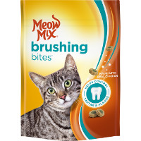 Print a coupon for $0.75 off Meow Mix Brushing Bites Cat Treats
