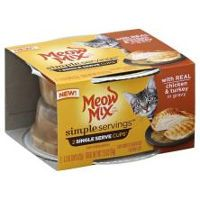 Print a coupon for $0.55 off two Meow Mix Simple Servings Twin Pack