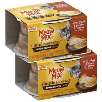 Print a coupon for $0.55 off two Meow Mix Simple Servings 2-Packs