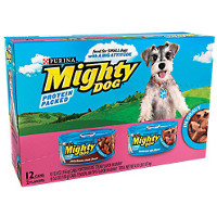 Save $2 on 12 single cans or one 12 pack of Mighty Dog Dog Food