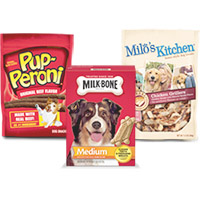 Save $1 on any two Milk-Bone, Milo's Kitchen, or Pup-Peroni dog snacks