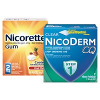 Print a coupon for $15 off Nicoderm 14ct or larger, or Nicorette 72ct or larger