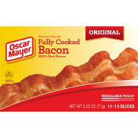 Print a coupon for $1 off one pack of Oscar Mayer Fully Cooked Bacon