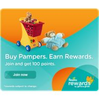 Join Pampers Gifts to Grow Rewards program and receive 100 free points toward your purchase of Pampers goods