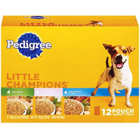 Save $1 on one Pedigree Little Champions 8 or 12 ct Pouch Variety Pack or six single pouches or six 13.2 oz cans