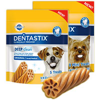 Print a coupon for $2 off any three Pedigree Treats for Dogs