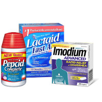 Print a coupon for $3.50 off two Pepcid, Imodium or Lactaid Dietary Supplements