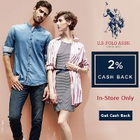 Get 2% Cash Back at participating U.S. Polo Assn. store locations when you pay with your linked Credit or Debit Card