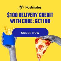 Get Postmates food and grocery delivery - new customers get $100 in delivery fee credits