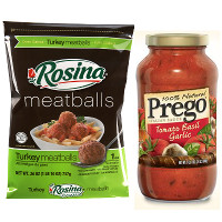 Print a coupon for $1.50 off one Prego sauce and one bag of Rosina Meatballs