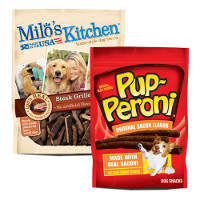 Save $1 on any two Pup-Peroni and Milo's Kitchen Dog Snacks