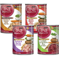 Print a coupon for $0.75 off four cans of Purina ONE SmartBlend Wet Dog Food