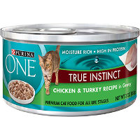 Print a coupon for $1 off four cans of Purina ONE Brand Wet Cat Food