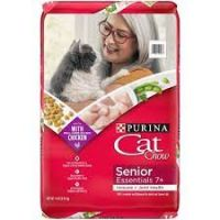 Print a coupon for $2 off two (3.15 lb or larger) bags of Cat Chow Senior Essentials 7+ Dry Cat Food