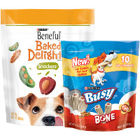Save $3 on one pouch of Purina Busy Bone Brand Chew Treats and one pouch of Beneful Baked Delights Dog Treats