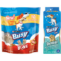 Save $1 on any two packages of Purina Busy Brand Bone or Dental Chews