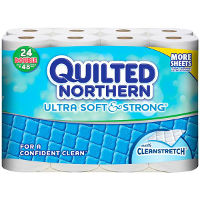 Print a coupon for $1.50 off one package of Quilted Northern Ultra Soft and Strong Toilet Paper, 24 Double Roll