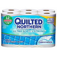 Print a coupon for $0.50 off a pack of Quilted Northern Toilet Paper, 12 double rolls or larger