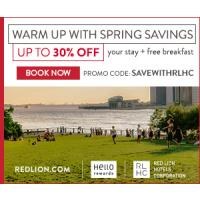 Save up to 30% off your stay at participating Red Lion Hotels including Free Breakfast