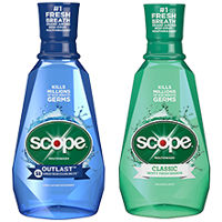 Save $1 on two bottles of Scope Classic, Outlast or Sparkle Rinses, 473ml or larger