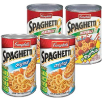 Save $0.40 on four cans of Campbell's SpaghettiO's pastas