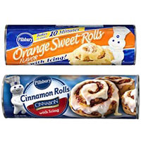 Print a coupon for $0.50 off one packages of Pillsbury Refrigerated Sweet Rolls