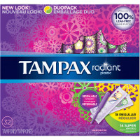 Save $0.75 on a box of Tampax Radiant Tampons, 16 count or larger