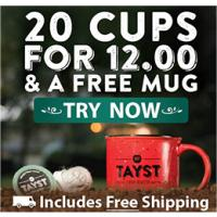 Get 100% sustainable coffee pods - Try Tayst Coffee and receive 20 cups of Coffee for $8.00 plus a free Mug and Shipping