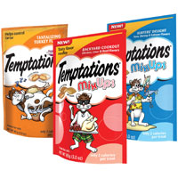 Print a coupon for $1 off three bags of Temptations Cat Treats