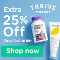 Get an extra 25% OFF your first order + a 30 day free trial membership when you sign up at Thrive Market
