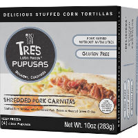 Print a coupon for $2 off any box of Tres Latin Foods Pupusas