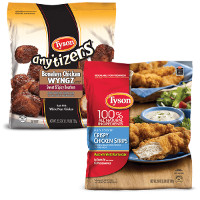 Print a coupon for $1.50 off Tyson Chicken Strips or Any'Tizers product