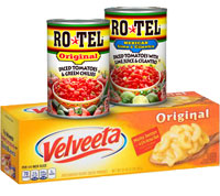 Save $2 on one 2 lb. package of Velveeta Cheese and two cans of Ro*Tel Diced Tomatoes