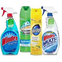 Print a coupon for $0.75 off two Windex, Scrubbibng Bubble or Pledge products