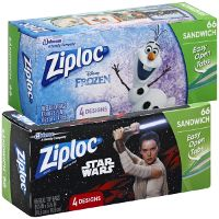 Print a coupon for $1 off two packs of Ziploc Bags featuring Disney Frozen or Star Wars