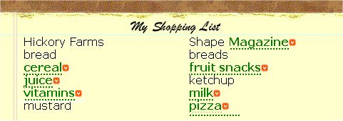 Sample Shopping List